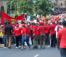 South African trade unionists protest against the practices of labour brokers.