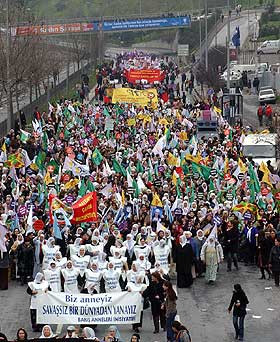 Women workers march in Turkey, 2007.